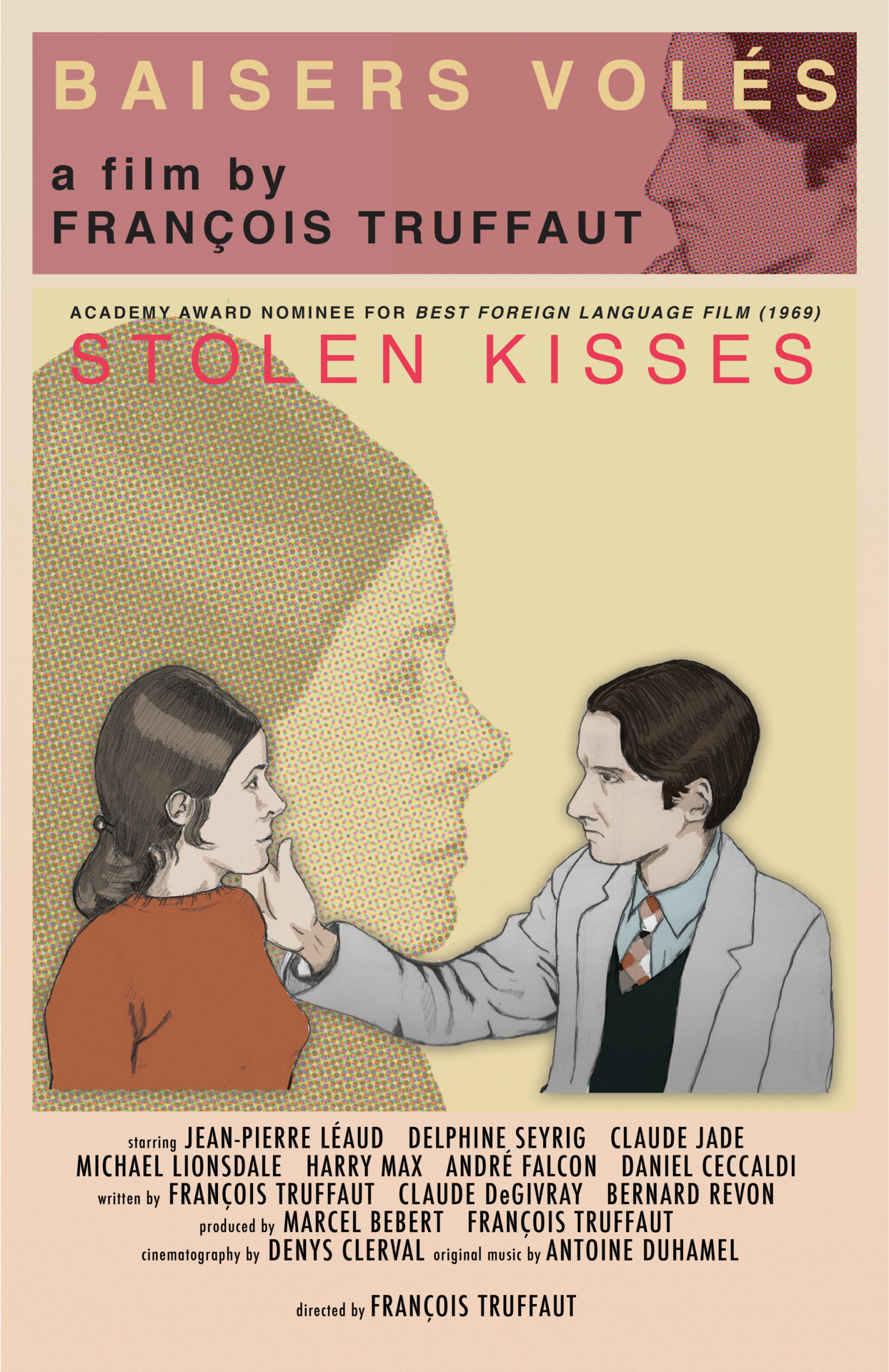 "11x17 poster for Francois Truffaut's 1968 film ""Stolen Kisses"""
