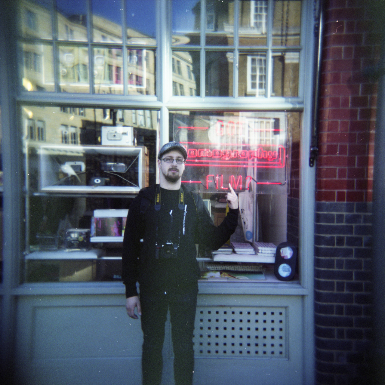Me standing in front of the London's Lomo Shop. Not far from Brick Lane. Holga, Fuji PRO400