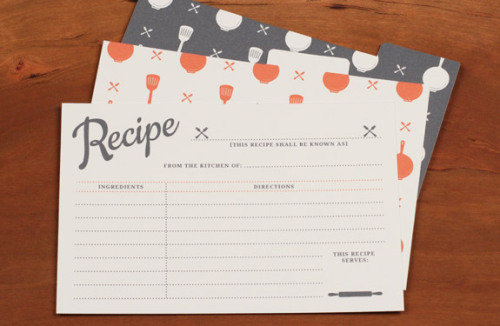 "ohyaydesign:  Printable template: Recipe cards I so need to print these among moving in with my boyfriend, I have turned into a ""Susie homemaker"" (the best I can) i like it it is fun so far! I try new recipes every week and need to start saving them on a hard copy"
