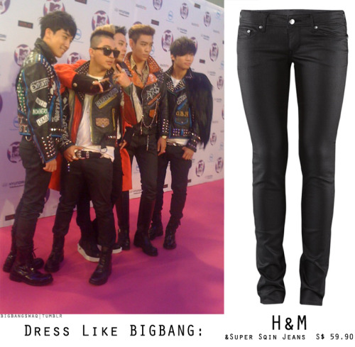 "BIGBANG loves jeans and all kinds of denim. But, the most basic thing they wear all the time of course black denim, but their denim is a bit special because it has a ""wax"" coat which makes the jeans look more shiny, but not blinding the eyes. The wax effect makes it look ""wet"" but dry. Okay what am I saying, I just want to let you guys know that you can find this kind of jeans at H&M / ZARA/ ASOS or even at denim brands like Cheap Monday, Nudie, Ksubi, etc but H&M probably a good idea because I got mine there. The fitting is quite nice too, moreover it's super affordable :)"