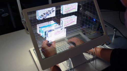 "Science Fiction Meets Reality: Interactive Transparent LCD Computing Your current world is about to look incredibly outdated when you see this video. What do you get when you combine MIT and Microsoft? You get something truly ingenious.   I can already see the direction that the future is going to go in when seeing this video.   MIT student Jinha Lee designed a prototype as an intern in the Microsoft Applied Sciences Group which allows a user to physically interact with the objects on a transparent screen. Moving windows forward and backward with your fingers, cameras sense where the users hands are and allows for a true 3D interaction with the content on (or is that ""in"") the screen. Linking the pixellated world and that of humans is something that has been dreamed up many times before — with movies like Tron taking the concept as far as it could — to a whole digital world beyond the physical.  The display is transparent, and it recognizes where your hands are in space. Then the display overlays a space that lets you adjust it with your hands. So you 'virtually' grab things, rotate them, and so forth. Furthermore, the space itself moves so it replicates what it would look like in real life when looking around objects.  Just watch, it will make more sense.     Top youtube comment:  And they say Apple is innovative  [Via source]"