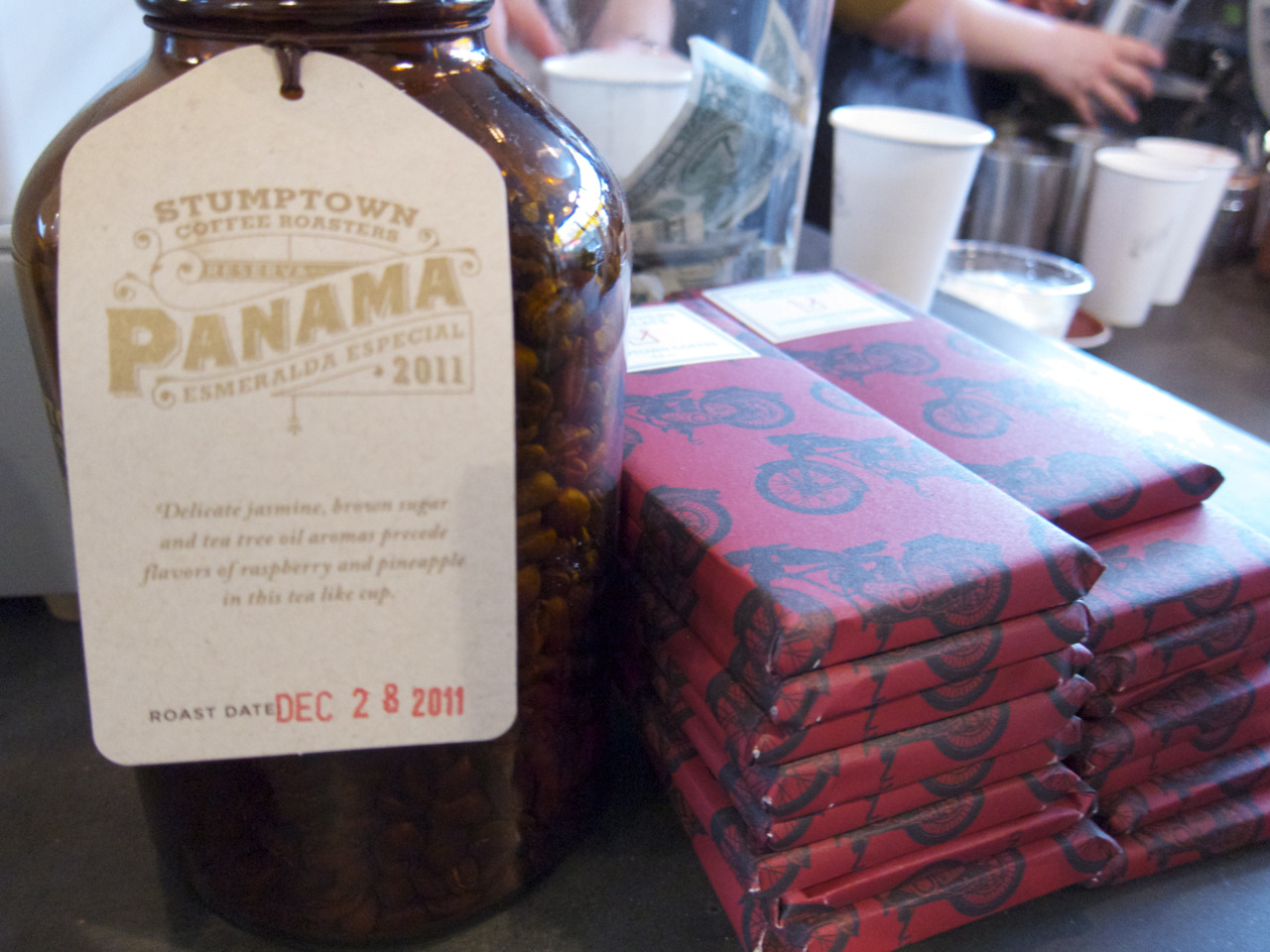 Panamanian coffee and Mast Brothers chocolate bars.