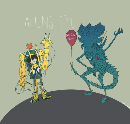 aliensandpredators:  mekaremadness:  Aliens Time by MekareMadness  haha  ripley, grab my little mouth…ALIENS TIME!