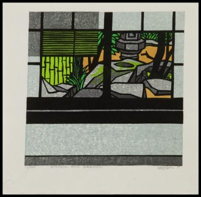 shotaku:  Clifton Karhu, Window and Garden, 1981, woodblock print.