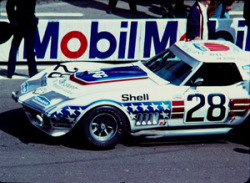 John Greenwood Racing Chevrolet Corvette #28 at the 24 Heurs du Mans, 1972.
