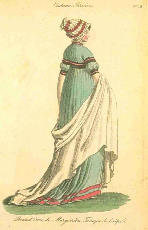 Journal des Dames et des Modes (Published in Fashions of London and Paris), September 1799.  Beautiful color!  Also, I'm fascinated by that unusual sleeve treatment.