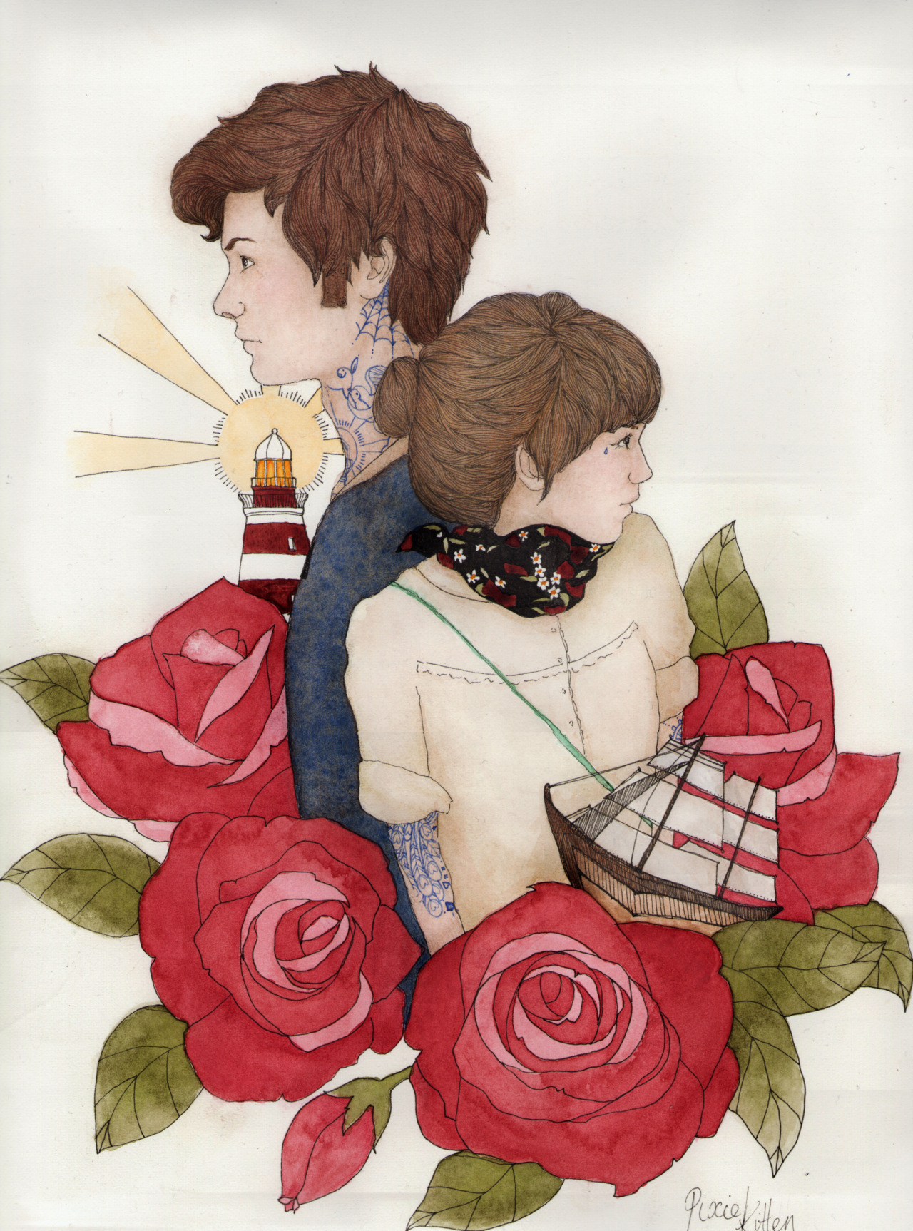 Lovers awayWater colour on cartridge