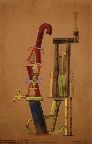 archives-dada:  Max Ernst, Little Machine Constructed by Minimax Dadamax in Person, (Von minimax dadamax selbst konstruirtes maschinchen), 1919–20, Hand printing (?), pencil and ink frottage, watercolor, and gouache on paper, 49.4 x 31.5 cm Peggy Guggenheim Collection, Venice  © Max Ernst, by SIAE 2008