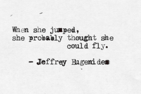 typewrittenword:  The Virgin Suicides by Jeffrey Eugenides submission from tambourinemachine