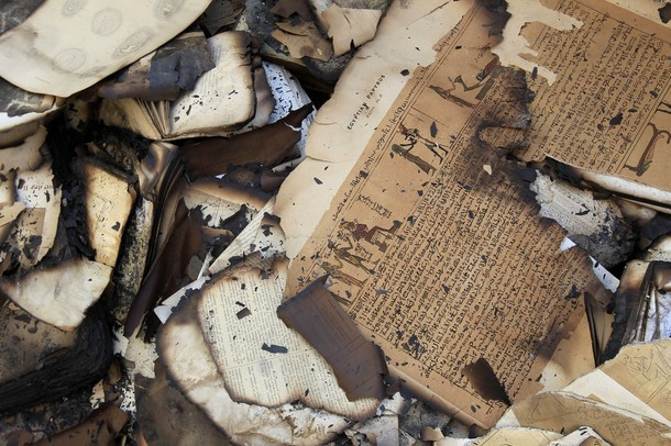 whileiwrite:  Books damaged after the fire in the Institute of Egypt in central Cairo, december 19