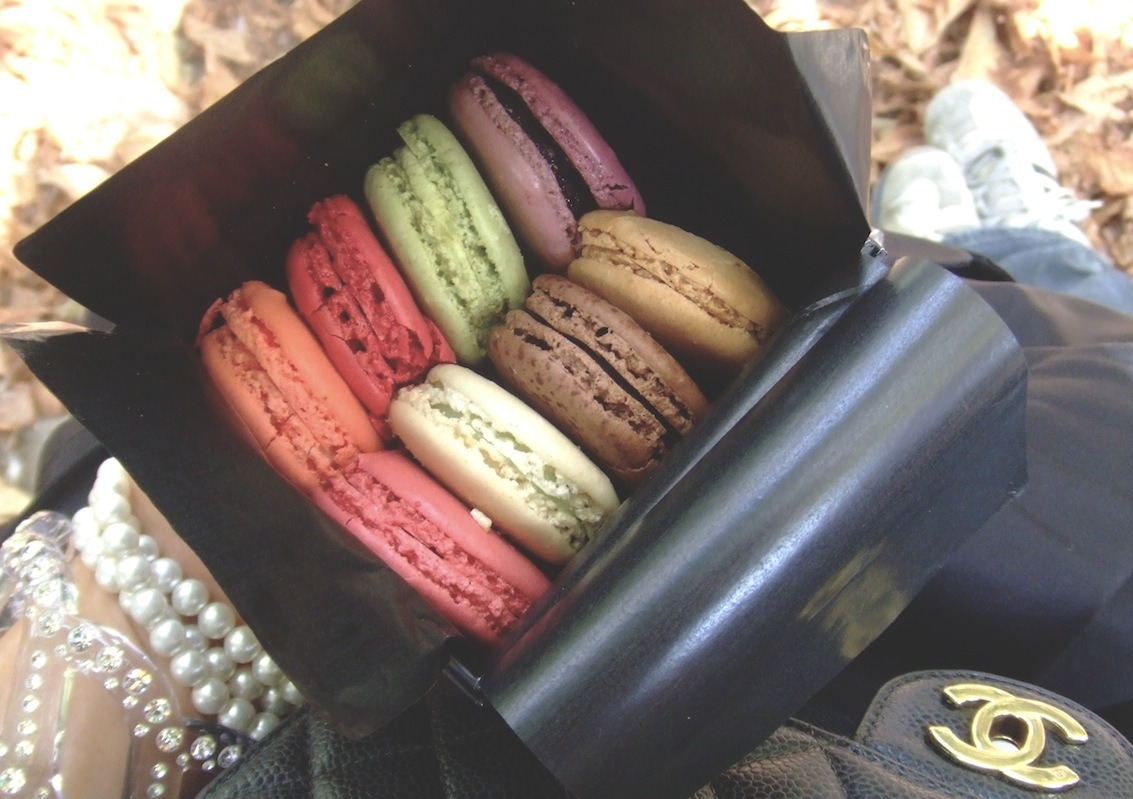 Happy life moments: Sitting in the Jardins des Tuileries with a box of jewel-like Laduree macarons