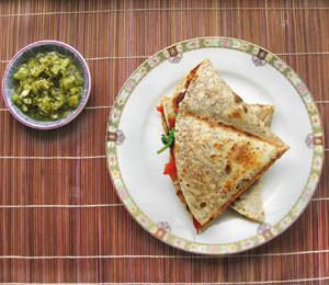 findvegan:  Gluten-Free Red Pepper & Spinach Quesadillas