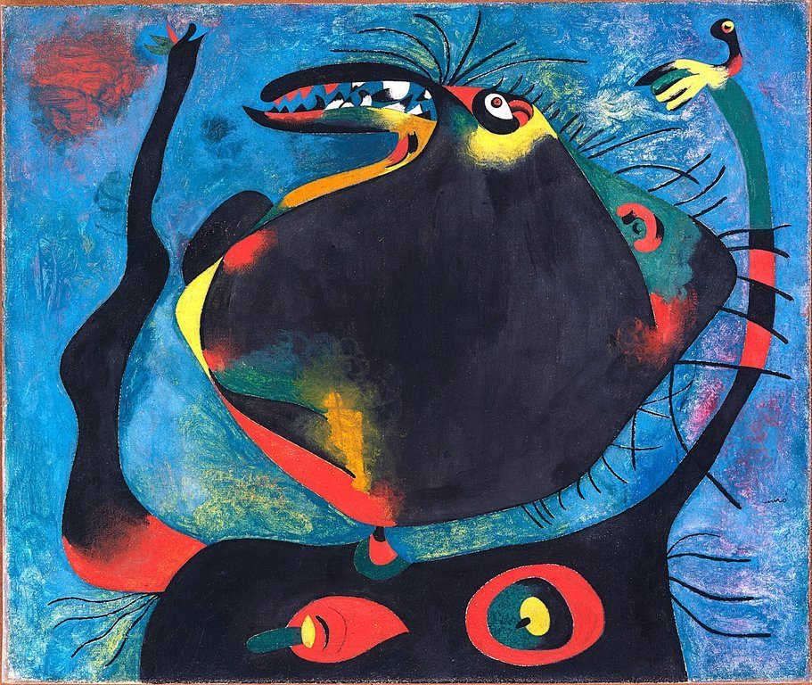 analysis-of-modern-art:  Woman's HeadJoan Miro1937  The Spanish Civil War influenced Miro's art in this painting in which a woman is reaching up to the sky with her mouth in almost a beak. She is seemingly rendered powerless and unnatural because of the war.  On his birthday, here is a visceral, jarring painting by Joan Miro.  Miro's work was strongly influenced by both Dada and surrealism, with hints of abstract expressionism and color field painting, although he rejected membership to any and all movements.