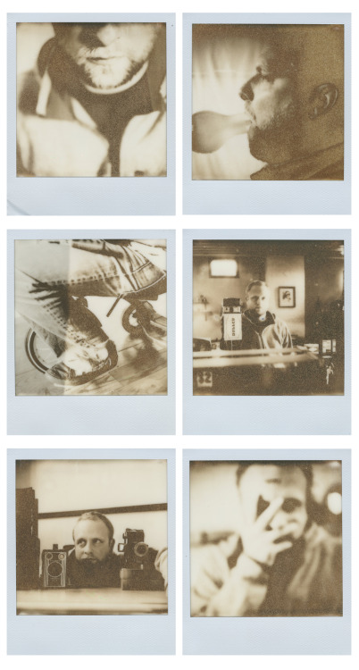 scottmeivogel:  Impossible's PX100 FF, Orange Packs.Very expired, first version. I have never shot images of myself, but was very bored and decided it was time. All were shot on a SX70 with a tripod and cable release.Crazy effects with this film!