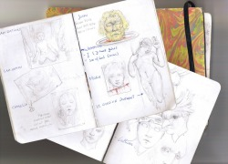 bits of one of my pocket scketchbook /cahier de idées.. Don't forget to visit and follow my Facebook page !