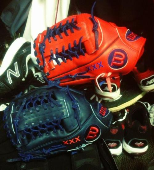 snapbacksandkitkats:  CJ Wilson's 2012 gloves; home and away