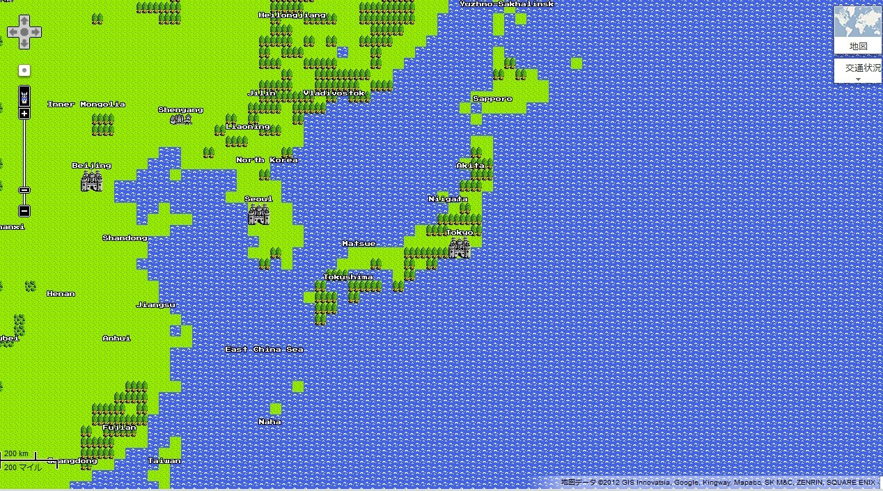 OH. before I go to sleep… Is this *Dragon Quest edition of Google map* available everywhere overseas?? It's cute, isn't it. It's official Google map:)