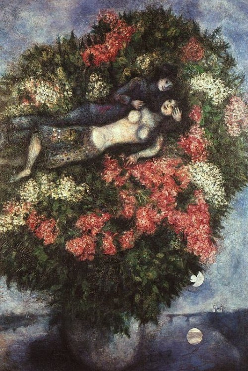 Lovers in the Lilacs (1930) by Marc Chagall