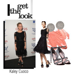 Get The Look: Kaley Cuoco     Kaley Cuoco, from The Big Bang Theory, was at the Genesis Awards wearing a dress from ASOS and Miu Miu glitter booties.   I think those shoes are too clunky with that dress, so for an alternative, I think these other Miu Miu heels compliment this outfit a lot better.  Also, try pairing it with some big studs to dress it up more.   **update: the dress is sold out in black, but it is also very pretty in green….and it's possible it might come back in stock or you might be able to find the dress on ebay**    ASOS reversible dress, $56Miu Miu platform sandals, $730Stila lip makeup, $22