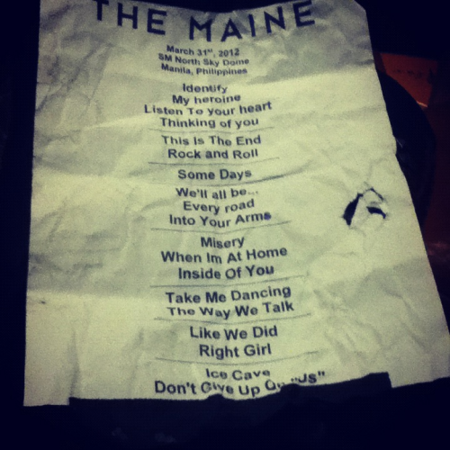 The Maine Pioneer World Tour Manila Setlist March 31, 2012