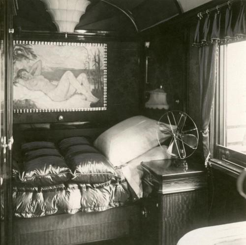 Bed with bedside table and ventilator in the saloon car / railway carriage of Mustafa Kemal Atatürk. Turkey, 1927.