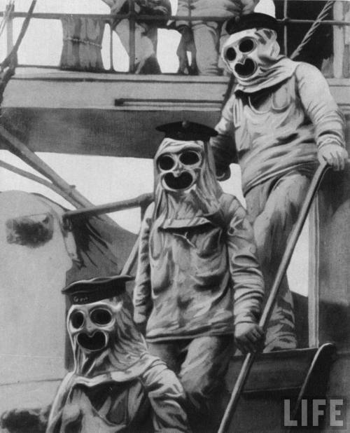 Austrian Soldiers in  Gas masks suits c.1915