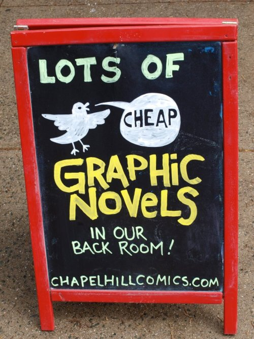 chapelhillcomics:  Tons of stuff newly discounted at 30% off in our back room, right now!  And you can come buy some from me today!