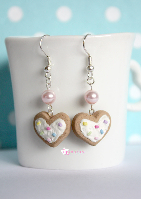 Sweet Pastel Heart Shaped Cookies Earrings
