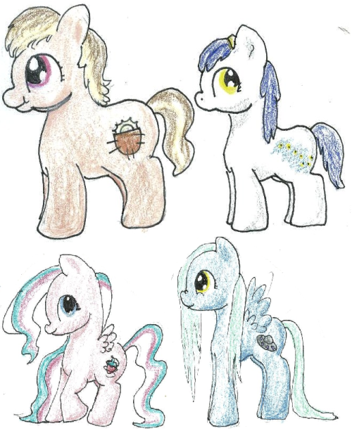 This ask blog's gonna become more of a question blog, and these ponies are the askers, I guess. Feel free to ask questions, but they're probably just gonna be text replies.Poketta Sunshine (top left) or just Poketta, is a therapist pony. She is short and stocky, and her cutie mark is a pocket with sunshine in it. She enjoys talking to her patients, and helping out any way she can. Little Dipper (top right) is a young filly who enjoys astronomy. She's very young, and her cutie mark is of the little dipper. She's rather shy, but loves mythology, especially when related to the stars.Fairy Berry Blend (bottom left) or Berry, is a smoothie expert. She's a bit sassier than the others, and is very social and loves making smoothies that she believes reflect the personality. Her cutie mark is a strawberry with some swirls around it. Galaxy (bottom right) is very into aliens and myths. She's a bit odd, and her mane is very thin and she is very lanky and awkward. It can be very hard to tell if she actually believes in all the strange things she writes about. Her cutie mark is a UFO.