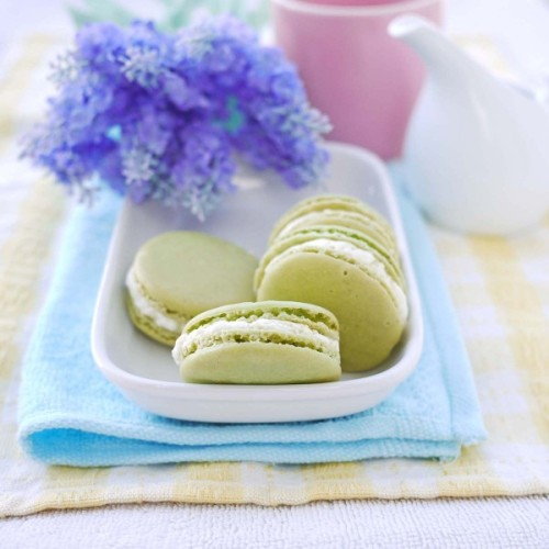 green tea and vanilla bean macarons.