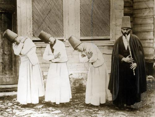 Turks (possibly Dervishes?) performing a regional dance, location unknown, c.1925-1940