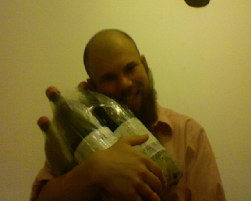 This is a package of four 2-litre bottles of wine.  That is 8-litres total.  It was heavy and I walked 6km to take it home.  It cost 7Euro. ADVENTURES