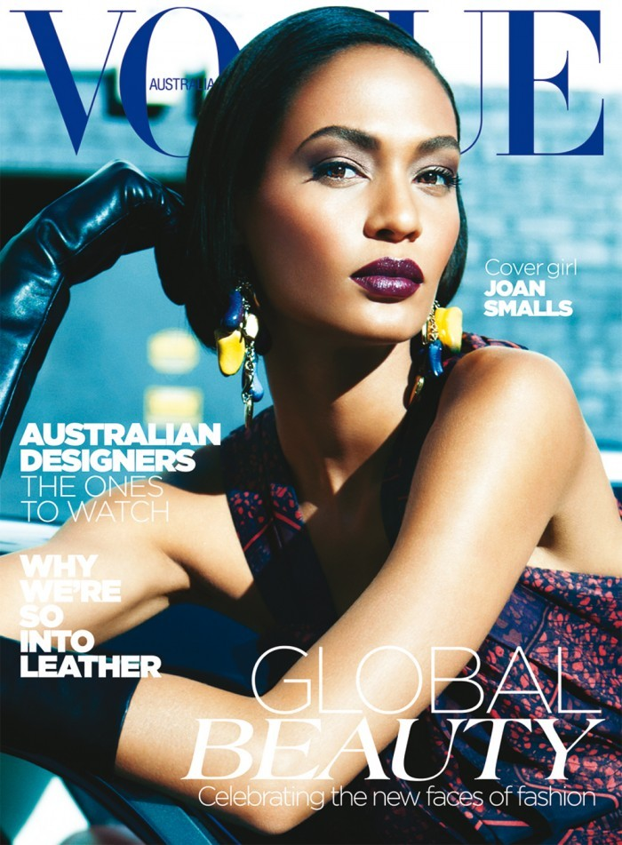 "Joan Smalls covers the latest issue of Vogue Australia ""Global Beauty""  ""It's nice to show the world that we don't only have to be one thing or categorized in one box. It's important to show the world—and fashion—that diversity is beautiful,"" says Joan Smalls."