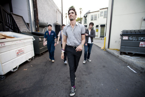 The All-American Rejects were such animated rock stars! This photo was taken in the back alley between The Troubadour and Dan Tana's. One day, historians will discuss this photo and there will be tour buses taking fans to this precise location.  Photo by Brad Elterman