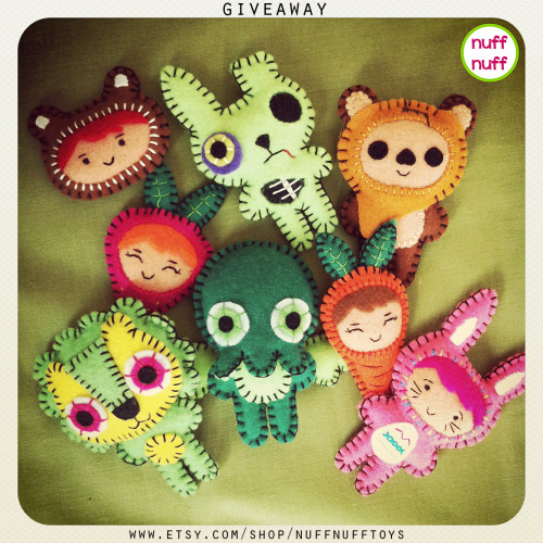 GIVEAWAY TIME! With this giveaway you'll have the chance to win ONE Felt Creature (of your choice) from my Etsy shop. How to enter: 1.     Reblog this post (leave a comment if you want) OR 2.     Go to my Facebook page and share the giveaway picture posted on my wall, leaving a comment on it. The Giveaway will end April 14!