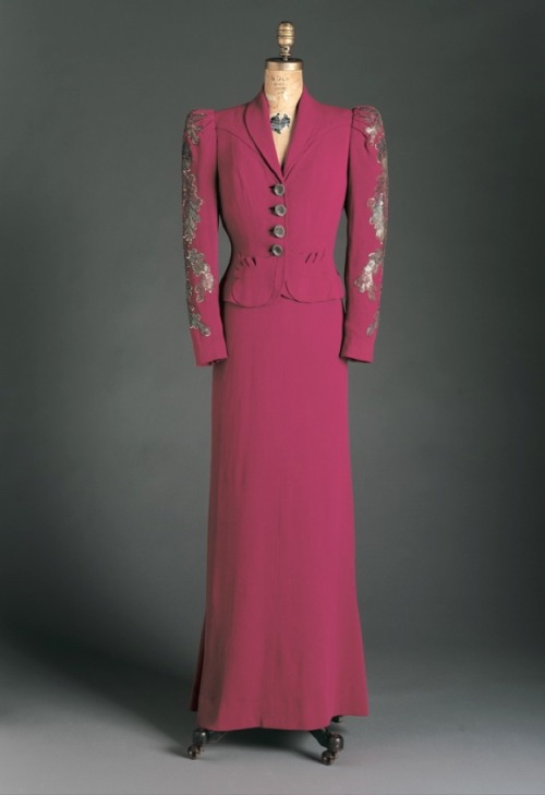 "A ""shocking pink"" dress and dinner jacket with sequined sleeves, Schiaparelli, 1938."