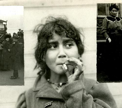 Gypsy girl smoking cigarette. The Netherlands, Amsterdam, 1912.