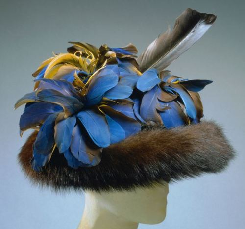 A gorgeous fur and feather hat, Schiaparelli, 1948.