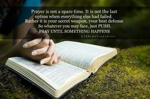 "Sometimes the most powerful prayer is not the one that last 60 minutes; at times the most powerful prayer is the one where you say, ""God help me!""  I don't know what your story is; I don't know all that you're going through but I want to encourage you today and let you know that there is power in prayer.  God doesn't want you to worry about today or tomorrow; instead He wants you to pray about everything and to make your request known to Him.  I encourage you to take God up on His word. I come to tell you that God still answers prayer; that there is power in prayer.  Just be diligent; consistent and have faith.  Don't give up if you don't get what you are praying for immediately and don't allow the devil to play with your mind neither.  As a God that's all knowing, you have to trust and know that God answers prayer in His perfect timing.  However, until you see your prayer manifest, continue to believe, have faith and to thank God in advance for answering your prayer.  Remember, seek first the kingdom of God and His righteousness and everything else will be added unto you.  Don't lose hope child of God, there is power in prayer.   www.facebook.com/naeemcallaway"