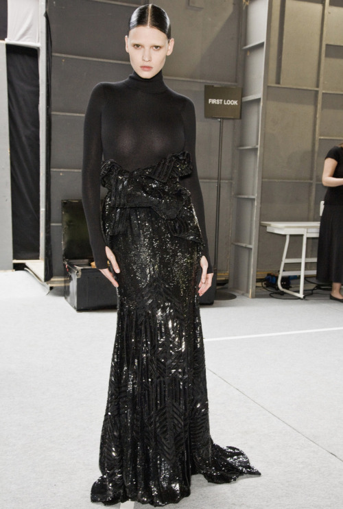 Lara Stone at Givenchy Haute Couture F/W 2009/10 Backstage