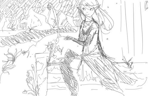 (( Some sketch of an elf in some sort of Lotus Marsh area derp))
