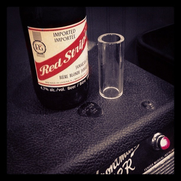 Writing some music #beer #redstripe #amp #red #music (Taken with instagram)