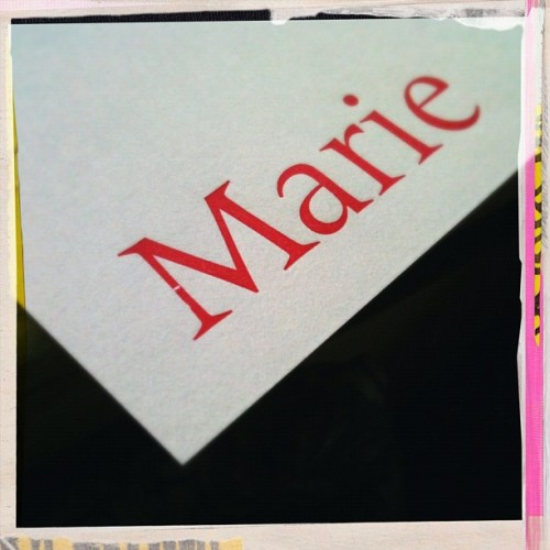 "Notecards: my first ""hot off the press"" item. The ""M"" was dinged & dented. How fitting. Loved it. #imperfectlyperfect (Taken with instagram)"