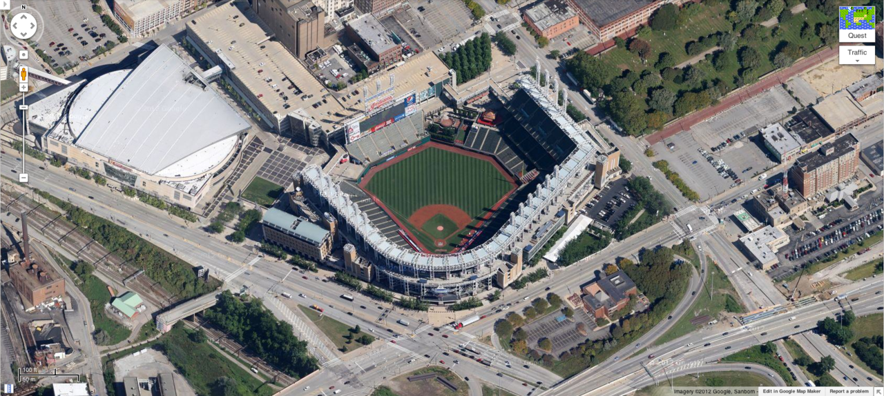 Progressive Field. Cleveland, Ohio. Home of the Cleveland Indians.  Home opener: Toronto Blue Jays vs. Cleveland Indians. Game time: Thursday, April 5, 3:05pm.