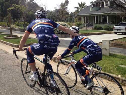 Funny shot from our team ride out in Redlands California. champsysracing:  Some people are just different sizes…. On the left, Chris Gruber, ~72 yrs old and able to bench press 480lbs. On the right, Tony Hall, former childhood Broadway actor and able to bench press 2 water bottles.