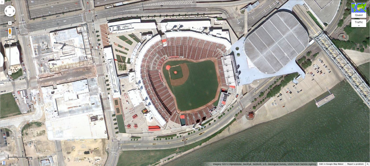 Great American Ball Park. Cincinnati, Ohio. Home of the Cincinnati Reds.  Home opener: Miami Marlins vs. Cincinnati Reds. Game time: Thursday, April 5, 4:05pm.