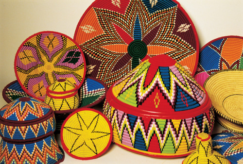 Colorful Eritrean baskets.