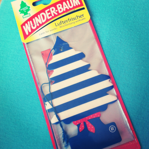 Look what my friend gave me a few days ago ! A baby sailor car tree ! I hope it smells like waterfalls,