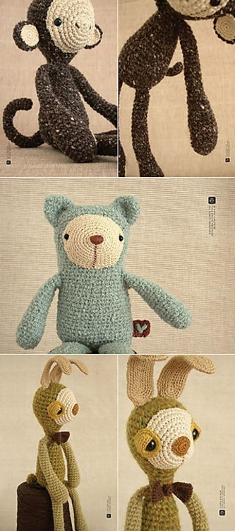 "Check out these stunning crocheted plushies.  They are beautifully photographed and designed by Eveluche.  Eveluche's Etsy store is called ""Les Peluches d'Eveluche"".  Peluche is the french word for Plush.  Here is the link for Eveluche's store on Etsy - check it here. NB: I found Eveluche's lovely creations  via MidWestModernGirl's Blog."