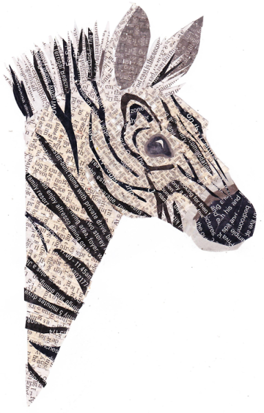 eatsleepdraw:  Zebra!(made entirely out of torn and woven newspaper) -Campbell